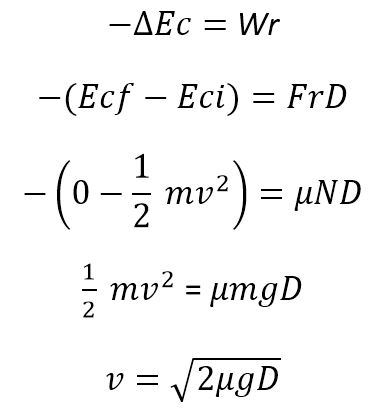 fórmulas de cálculo de velocidad por huella de frenada