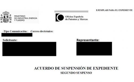 acuerdo de suspensión de expediente de marca