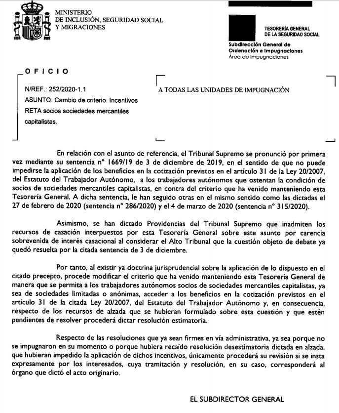 solicitar tarifa plana beneficios nuevo autonomo societario oficio seguridad social